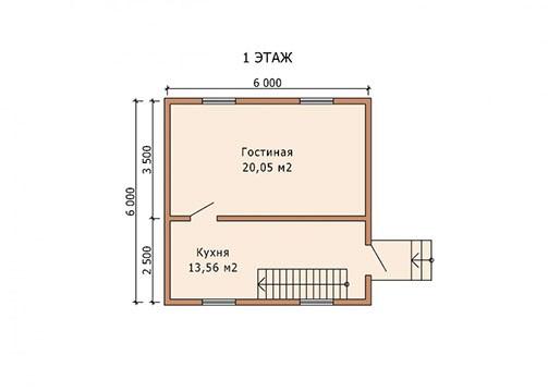 Дом из бруса, бревна 6х6