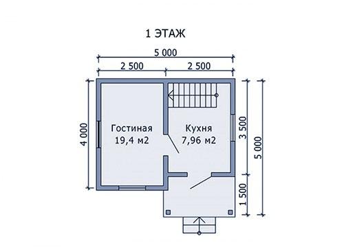 Дом из бруса, бревна, каркасный 4х5
