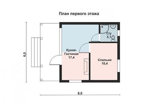 Дом каркасный, из бруса, бревна 6х8